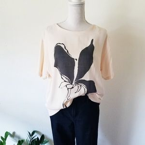 Zara Collection Lily Blossom Graphic Keyhole Top L